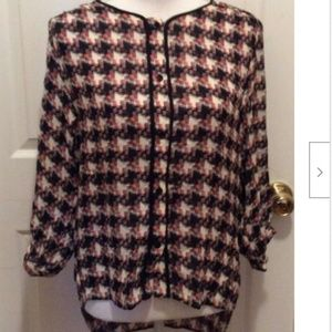 Rag & Bone Blouse 0 Cream Black Orange Green